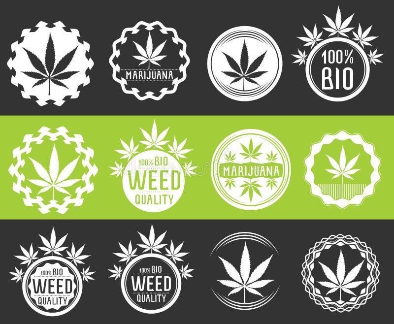 Cannabis en marihuana de zegels van het productsymbool  vector illustratie
