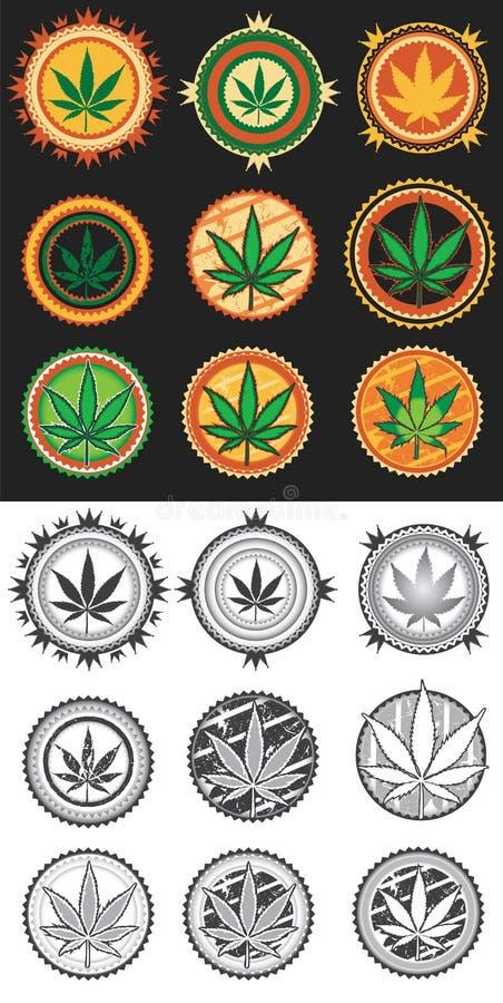Cannabis en marihuana de zegels van het productsymbool stock illustratie