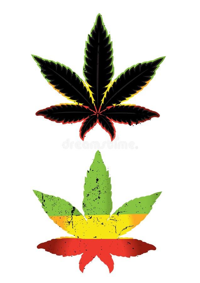 Cannabis en marihuana het ontwerp van het kleurensymbool  royalty-vrije illustratie