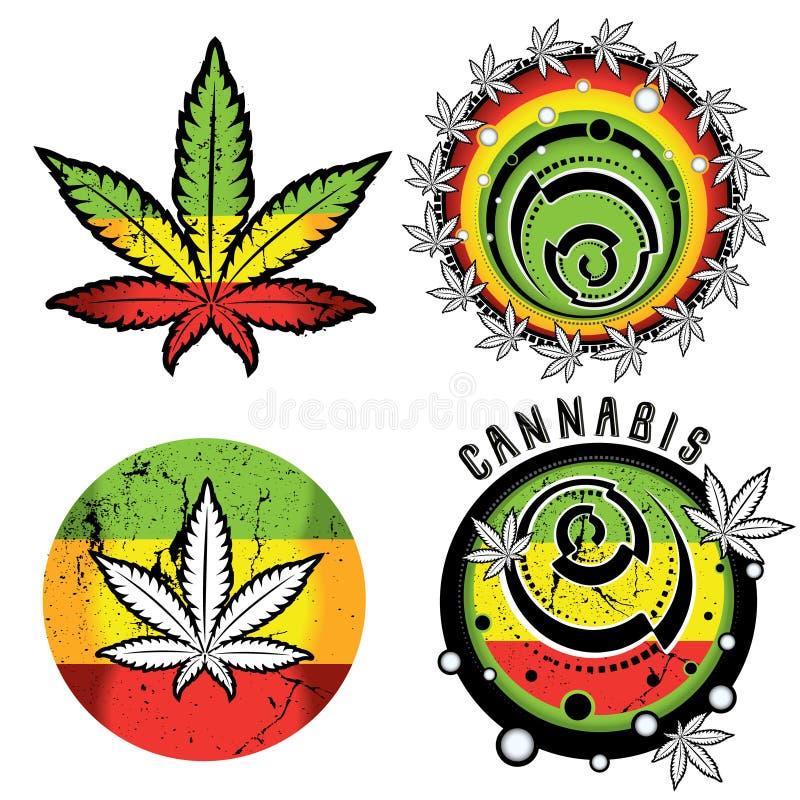 Cannabis en marihuanasymboolzegels  vector illustratie