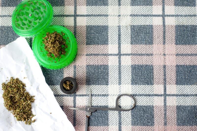Cannabis, erva daninha do esforço em uma textura esquadrada fundo Copie o espa?o foto de stock royalty free
