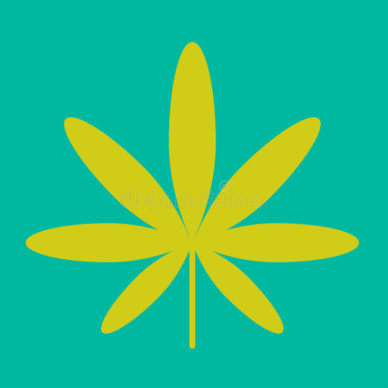 Cannabis green leaf hippie sign isolated on white stock illustration