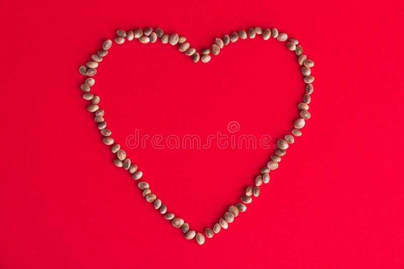 Cannabis & x28; hemp& x29; zaden die een hart over rode achtergrond vormen - medi stock afbeelding