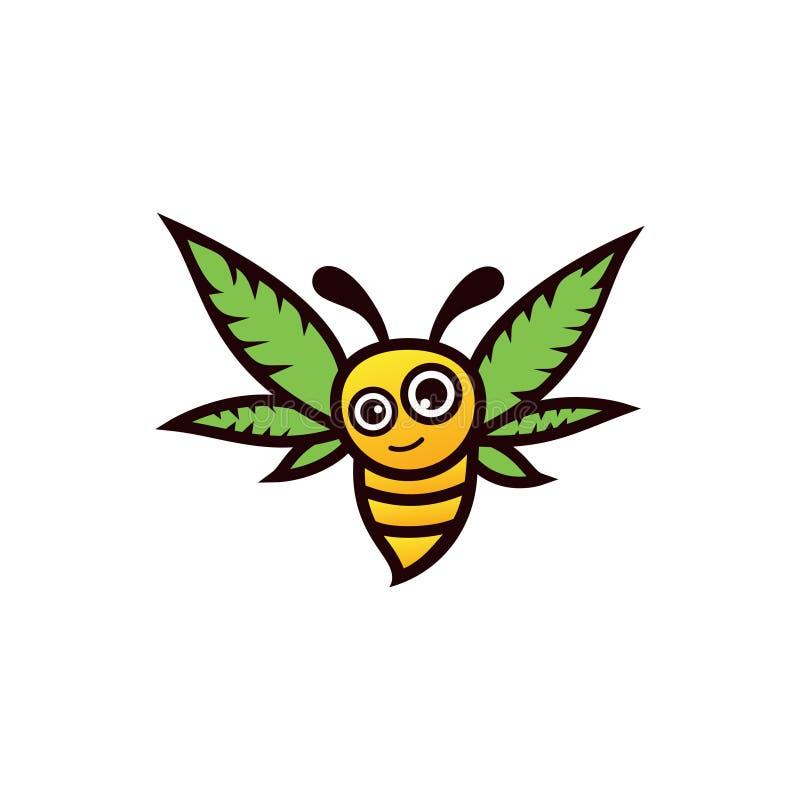 Free Cannabis Honey Logo Vector. Bee Hemp Leaves Logo Design Graphic. Stock Photo - 177129030