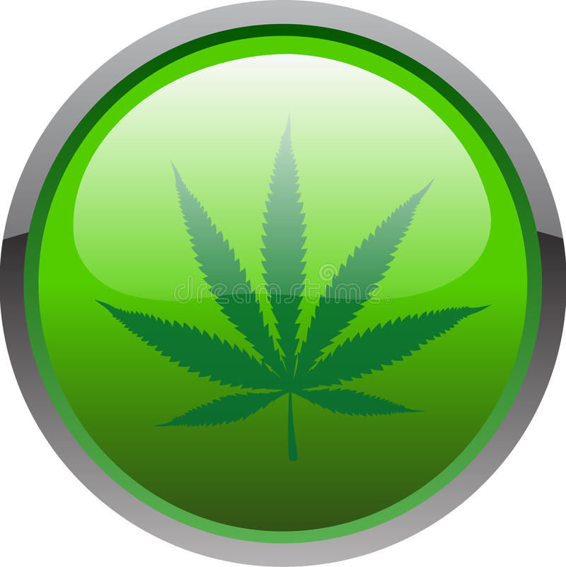 Cannabis icon. Cannabis button isolated on the white background stock illustration