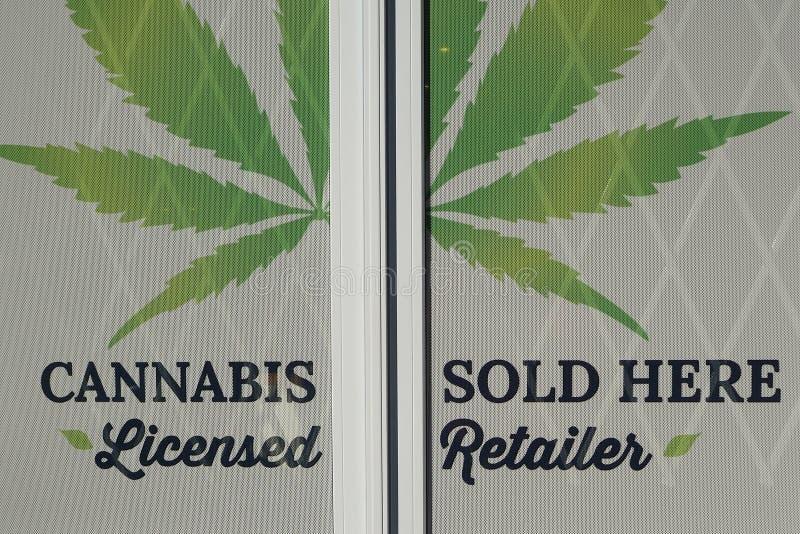 Cannabis kleinhandels stock afbeeldingen