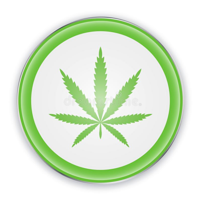 Cannabis leaf on circle sign in green color. Vector illustration Marijuana icon. Symbol of hemp.  vector illustration