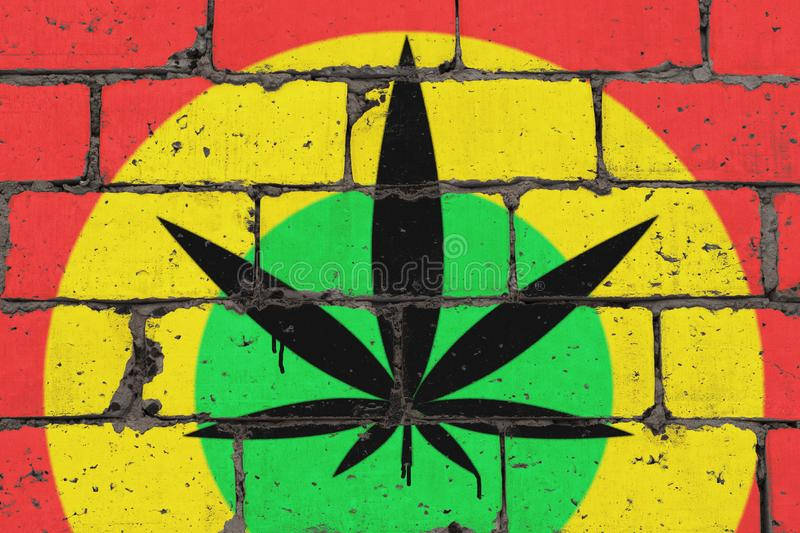 Cannabis leaf depicted on brick colored wall in style of rasta. Graffiti street art spray drawing on stencil vector illustration
