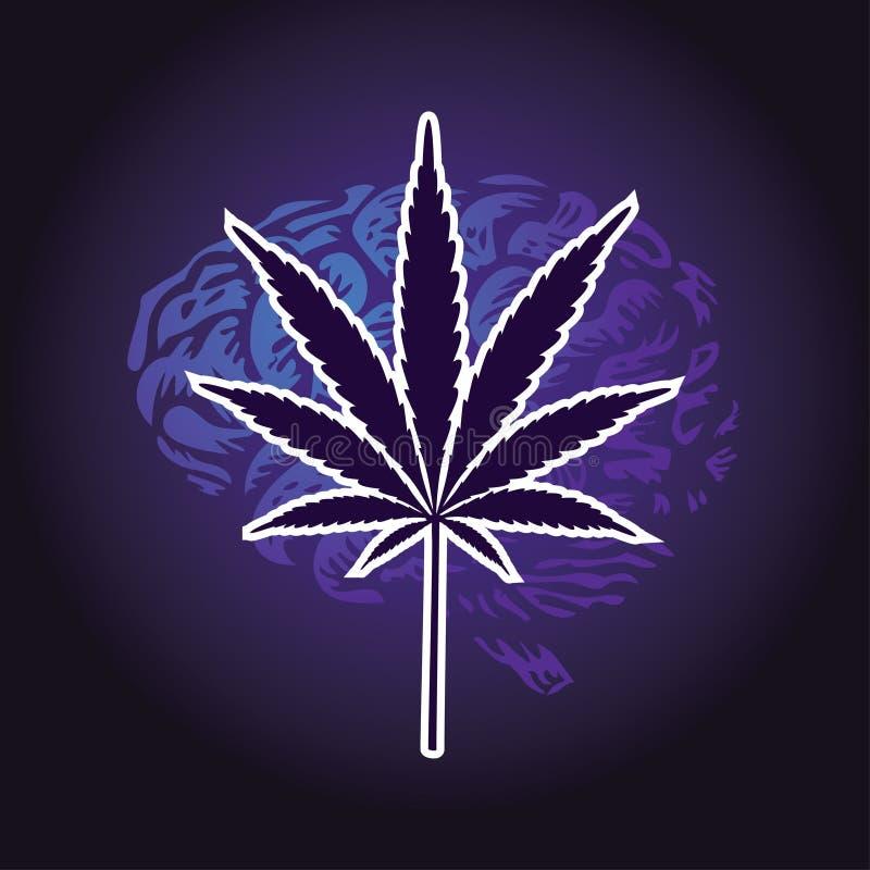 Cannabis leaf and human brain stock illustration