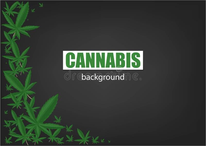 Cannabis of Marihuanaachtergrond Kader groen blad Groene Achtergrond Realistische vectorillustratie stock illustratie