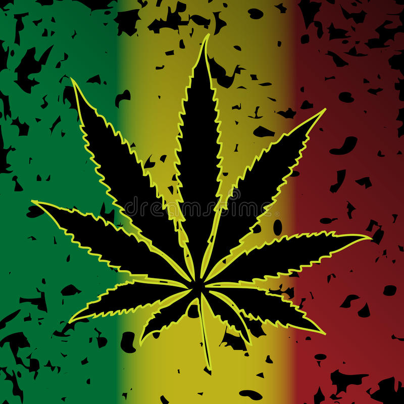 Cannabis-Marijuana. Illustration of cannabis as a symbol on abstract background vector illustration