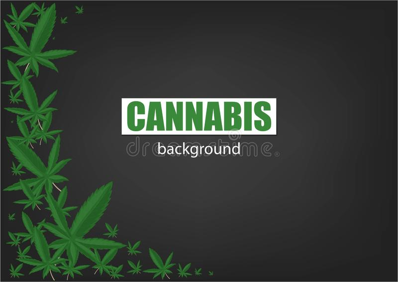 Cannabis or Marijuana background. Frame Green Leaf. Green background. Realistic vector illustration stock illustration