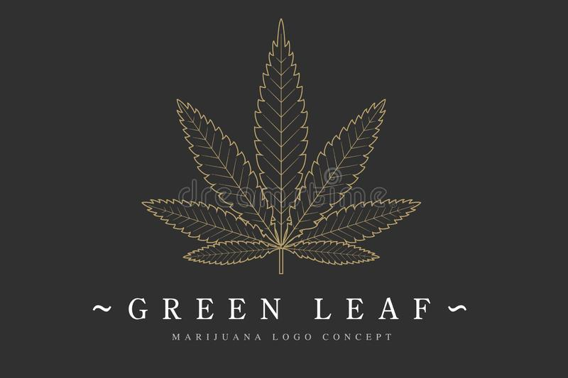 Cannabis marijuana hemp green leaf flat symbol or logo design. Cannabis green silhouette ecology logo. Hemp emblem for. The logo design packaging of goods, food stock illustration