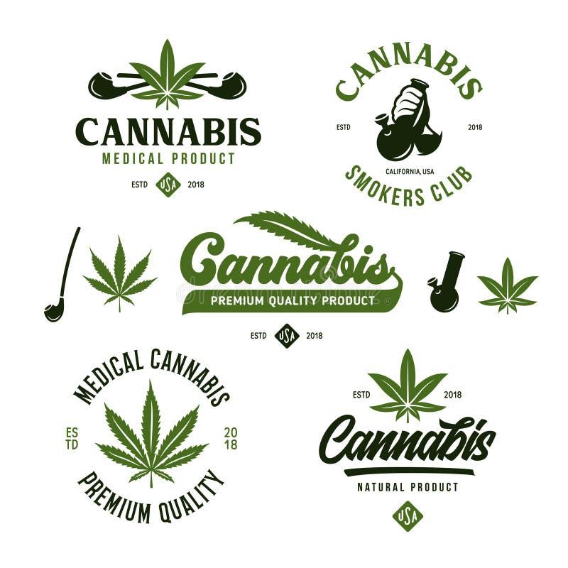 Cannabis marijuana labels emblems badges set. Vector vintage illustration. royalty free illustration