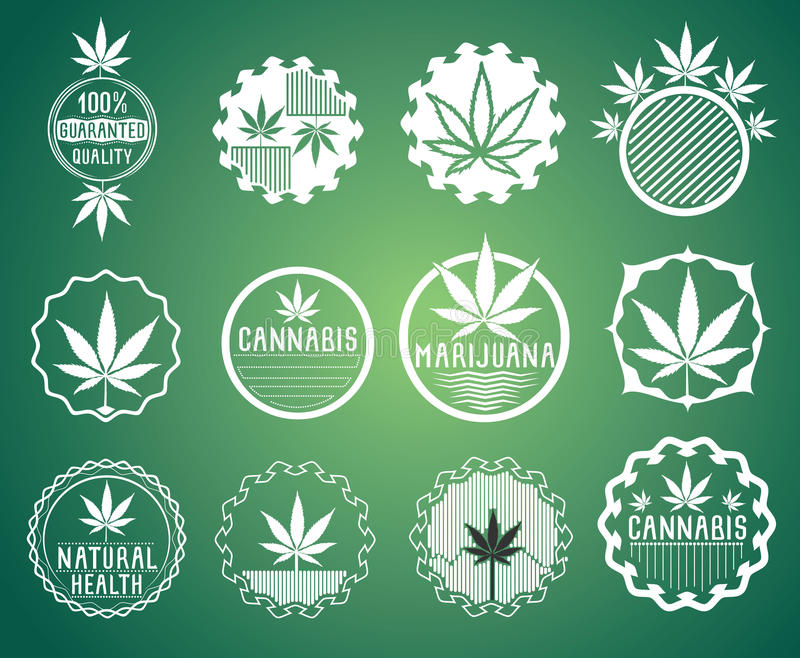 Cannabis and marijuana product symbol stamps stock illustration