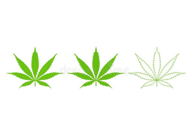 Cannabis marijuana weed green leaf. Medical, ganja cannabis. Vector illustration Isolated on white background stock photos