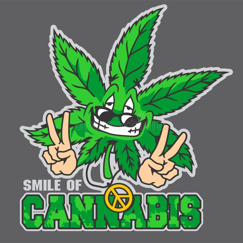 Cannabis mascot. Cannabis cartoon mascot with Fly expression royalty free illustration