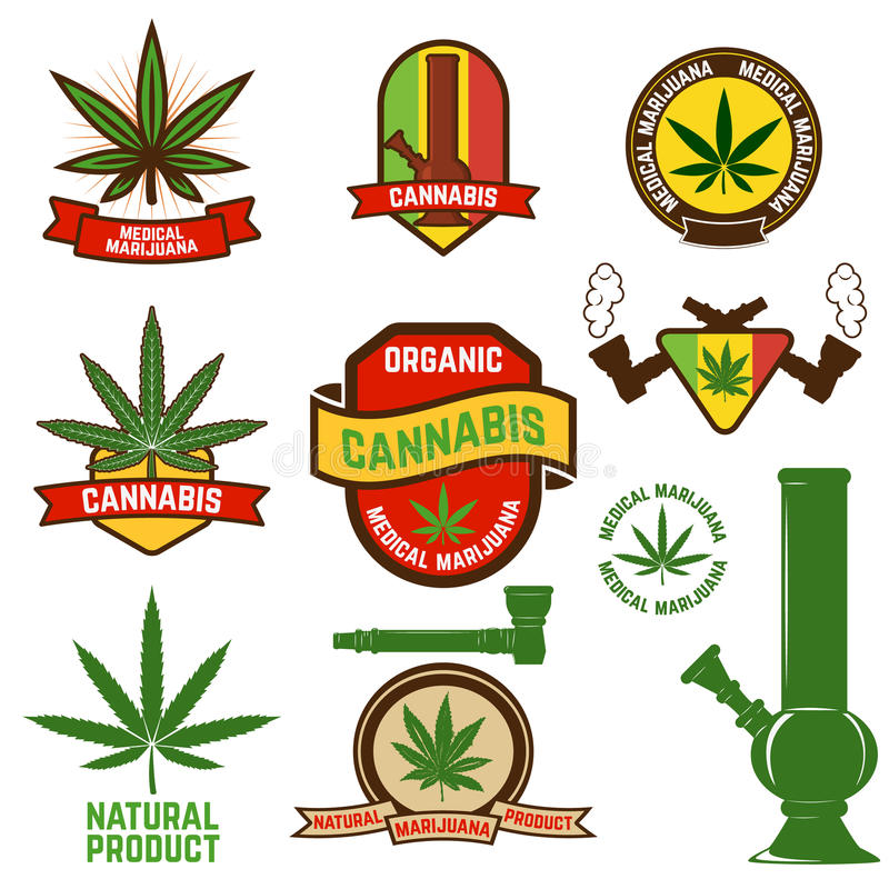 Cannabis. Set of cannabis labels and badges. cannabis leaf decorative jamaican style stamps. Medical marijuana. Label or badge design template royalty free illustration