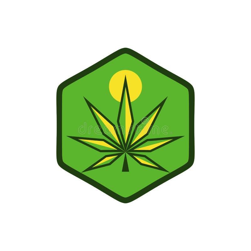 Cannabis sun modern logo vector design royalty free illustration