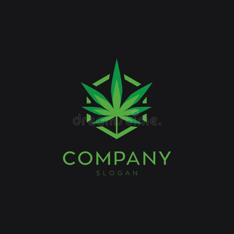Cannabisblad- eller marjuanalogo för din affär royaltyfri illustrationer