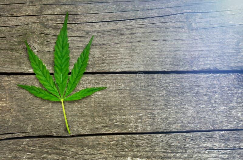 Cannabisblad op houten achtergrond stock afbeelding