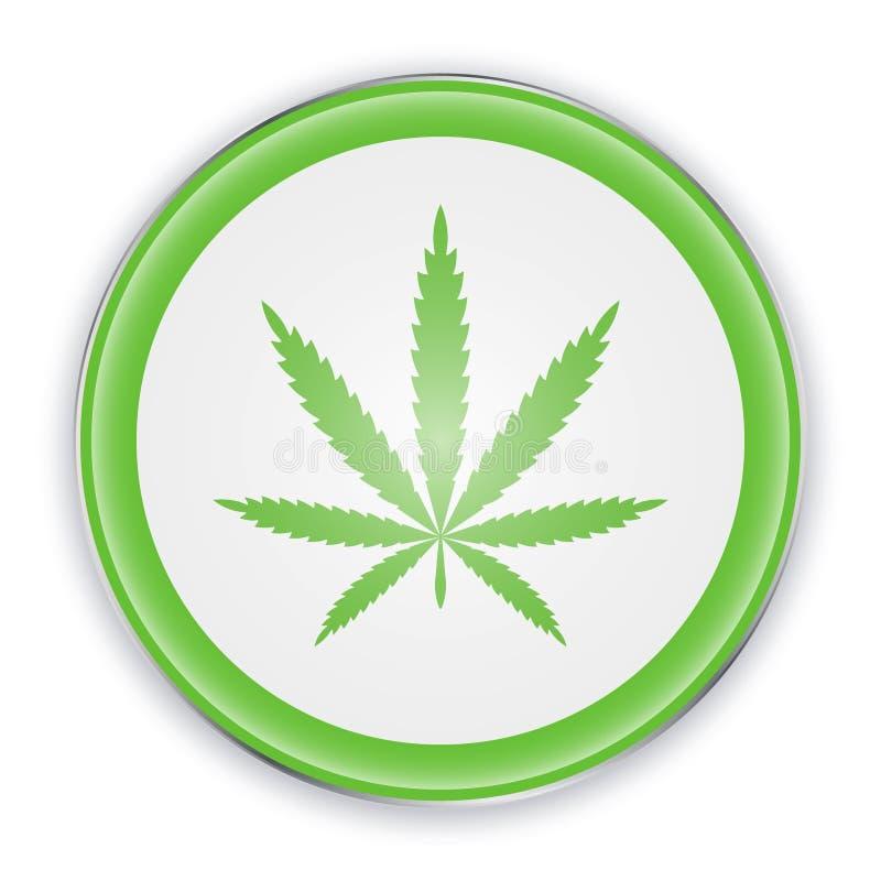Cannabisblad på cirkeltecken i gräsplanfärg Symbol för vektorillustrationmarijuana Symbol av hampa vektor illustrationer