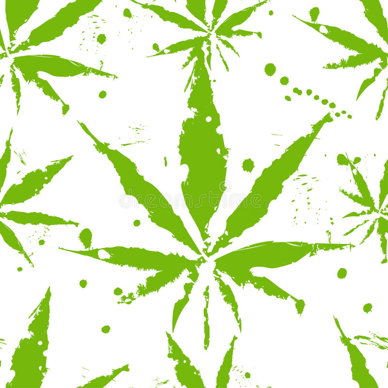 Cannabisblad - sömlös modell stock illustrationer