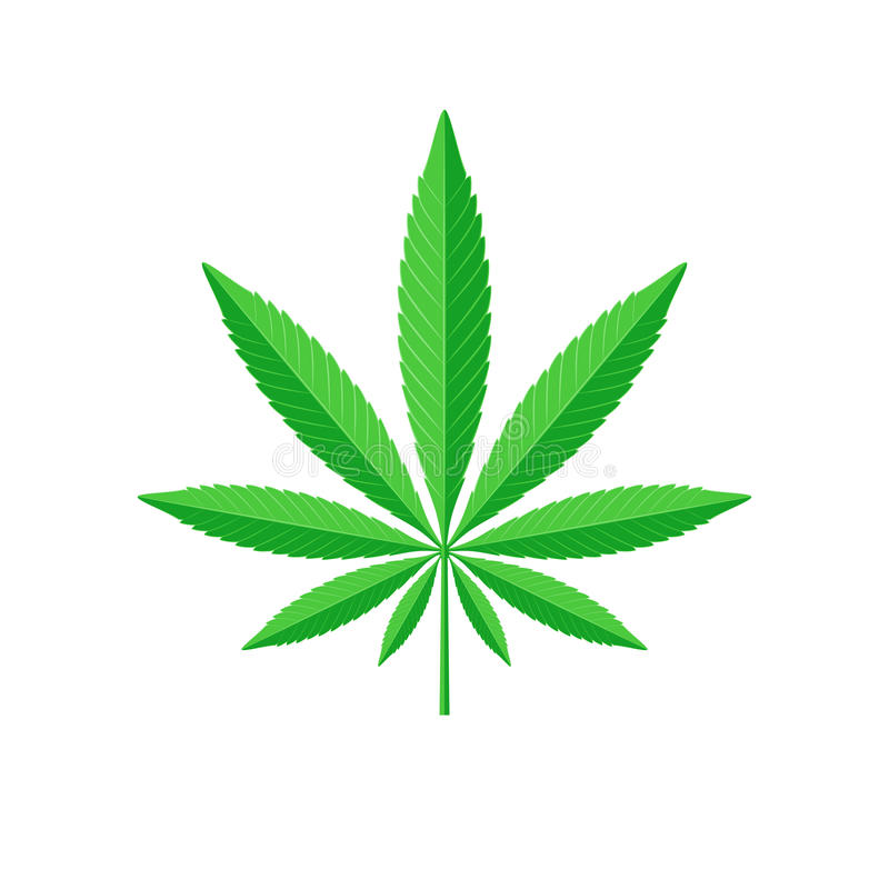 Cannabisbladtecken stock illustrationer