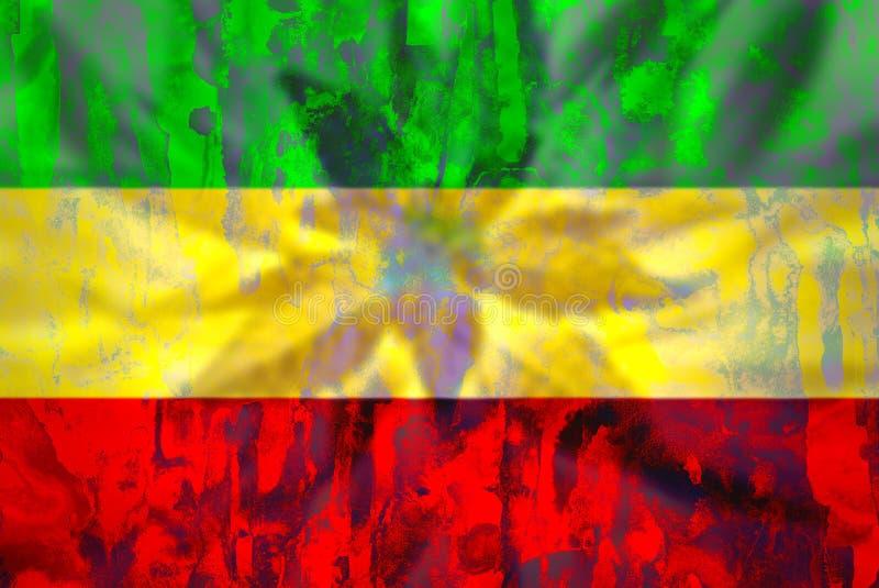 Cannabisknopp på rastafarian flagga vektor illustrationer