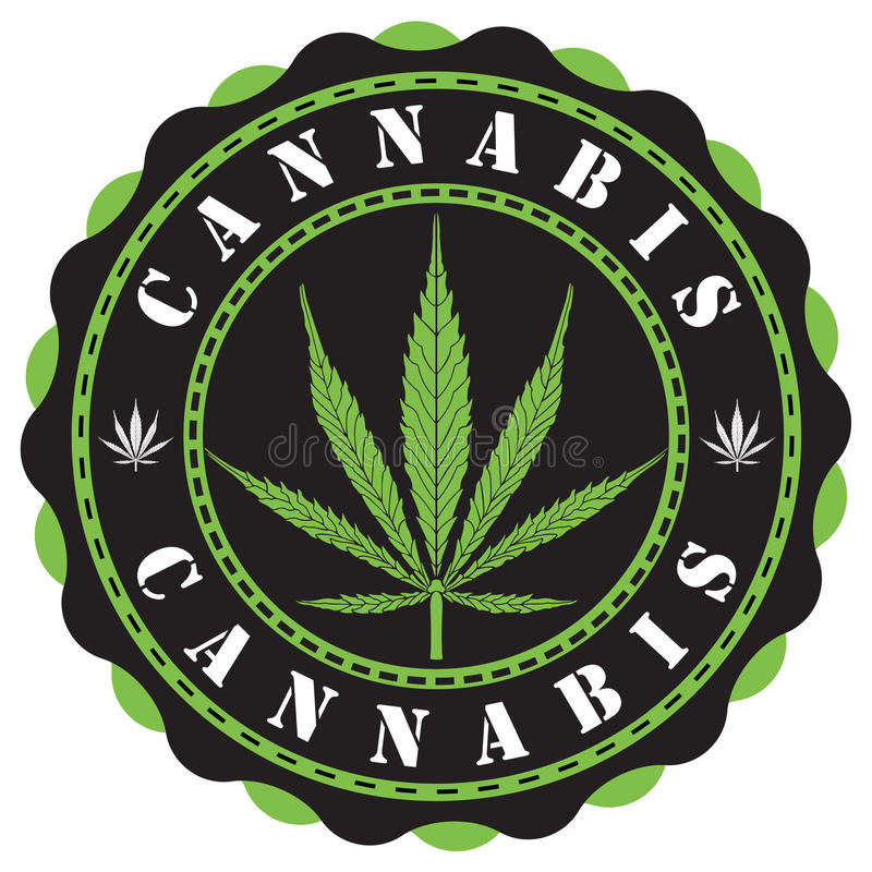 CannabisLOGO royaltyfri illustrationer