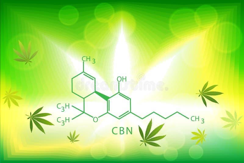 Cannabismarihuana in defocus met het beeld van de formule royalty-vrije illustratie