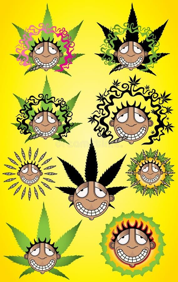 Cannabismarihuana gelukkige het glimlachen rastafarian rokersillustratie royalty-vrije illustratie