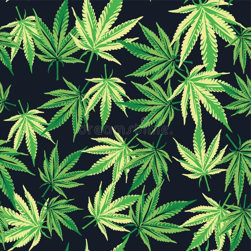 Cannabismarijuanablad seamless modell Vektorväxtbakgrund stock illustrationer