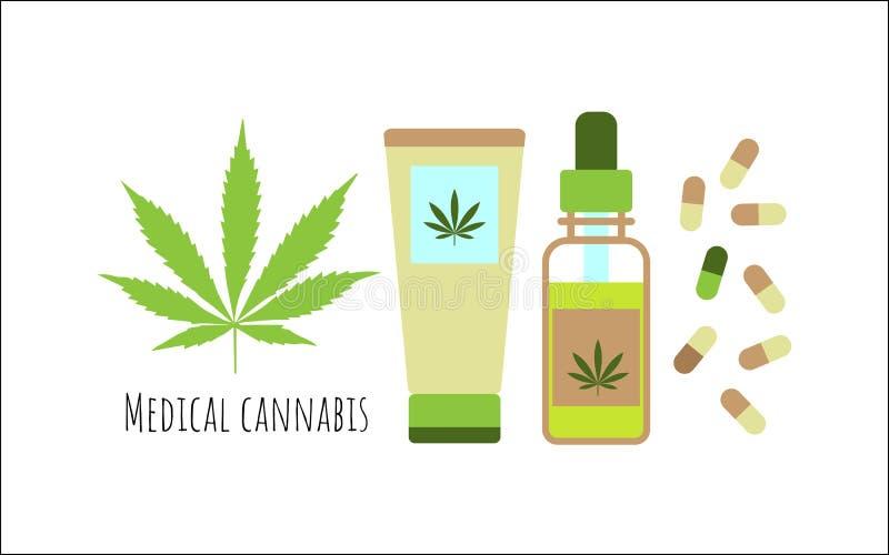 Cannabisprodukter Olja, kapslar och kräm från hampa vektor illustrationer
