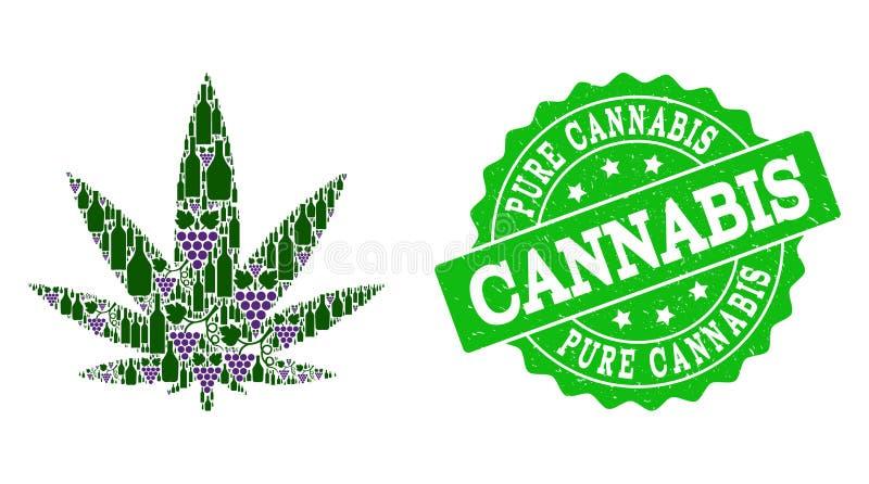 Cannabissammansättning av vinflaskor och druvan och Grungestämpeln vektor illustrationer