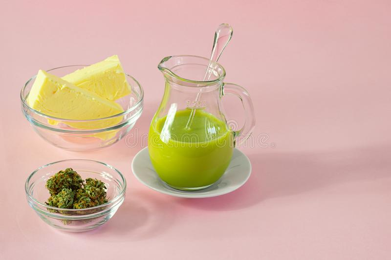 Cannabutter, Butter and Cannabis or Hemp for Baking Edibles. The ingredients for making cannabutter for edibles, or butter infused with cannabinoids from the royalty free stock photos