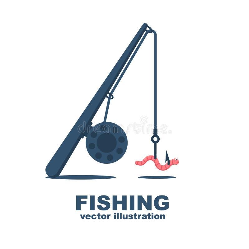 Canne à pêche avec un ver sur le crochet illustration de vecteur