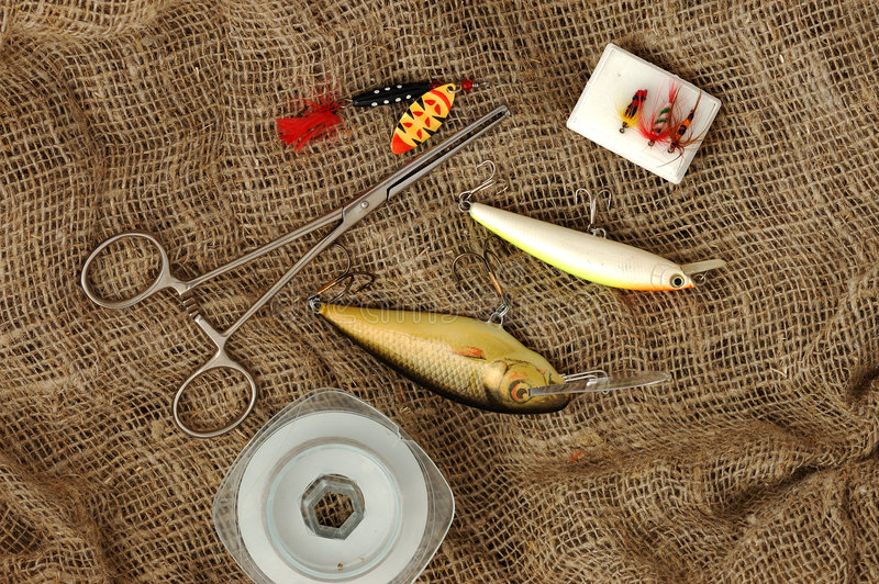 canne à pêche d'accessoires photo stock