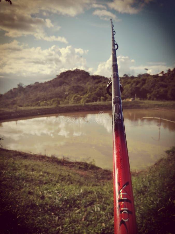 Canne à pêche dans le paysage parfait image stock