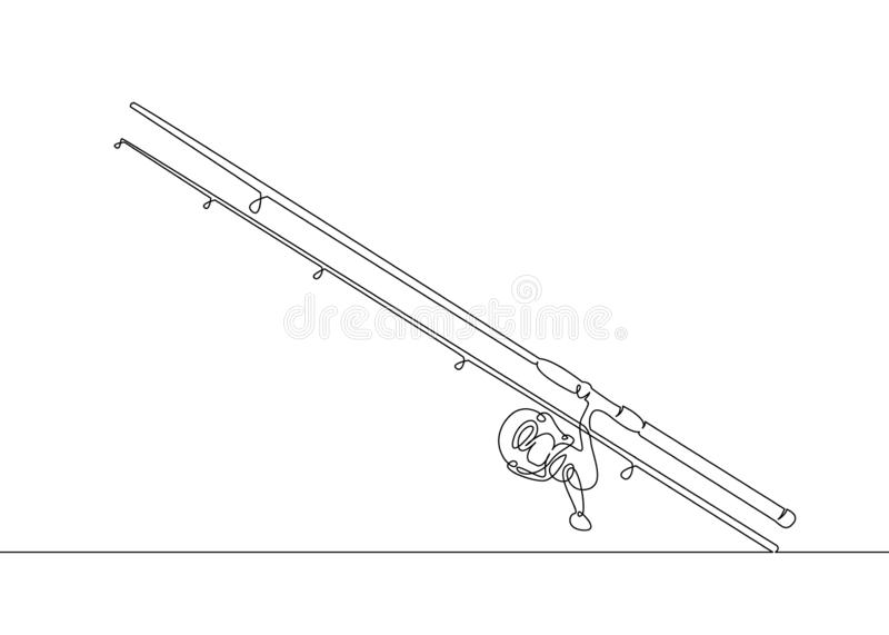 canne à pêche de croquis, tige de rotation, bobine, attirail illustration libre de droits