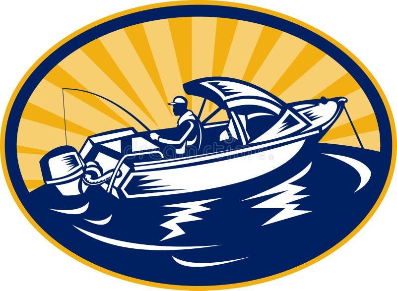 Canne à pêche de pêcheur sur le bateau illustration libre de droits