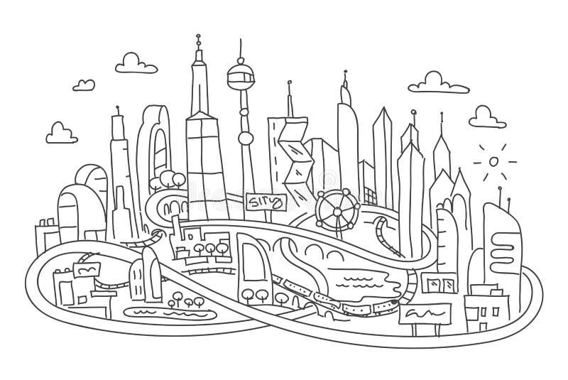 Canne à pêche dessin, architecture futuriste de ville illustration libre de droits