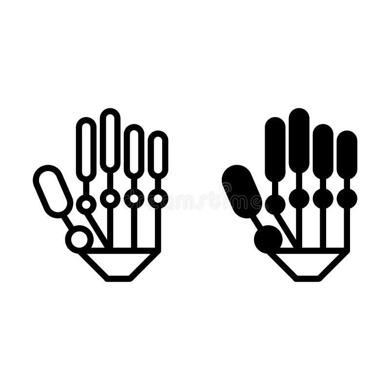 Canne à pêche et icône mécaniques de glyph Illustration moderne de vecteur de main de robot d'isolement sur le blanc Style d'ense illustration de vecteur