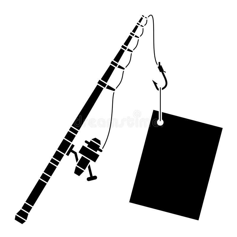 Canne à pêche noire avec le label illustration de vecteur