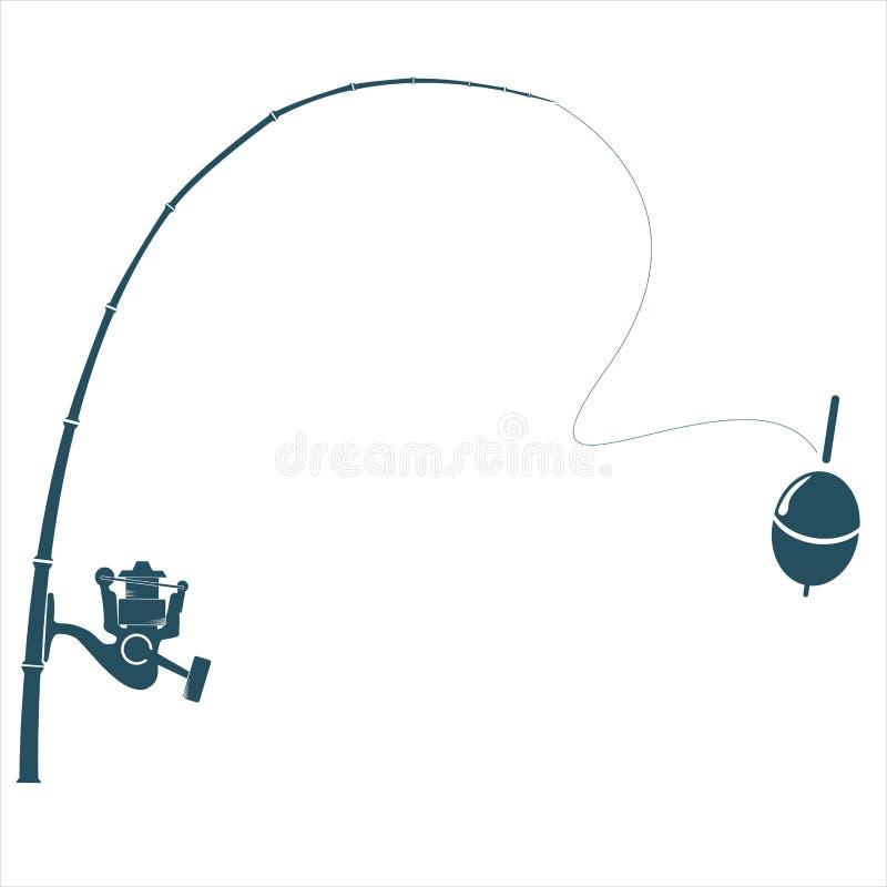 Canne à pêche sur le contexte blanc illustration stock