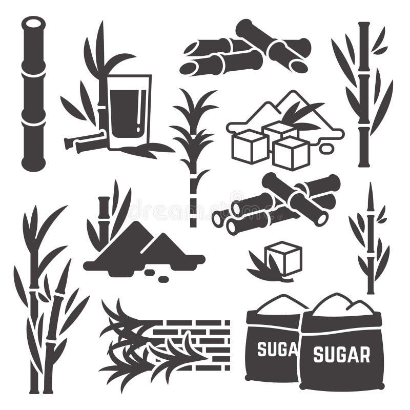 Canne à sucre, icônes de silhouette de vecteur de récolte d'usine de canne à sucre d'isolement sur le fond blanc illustration de vecteur