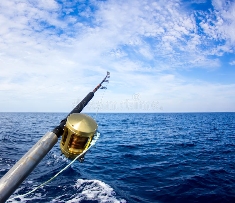 Canne da pesca della barca immagine stock