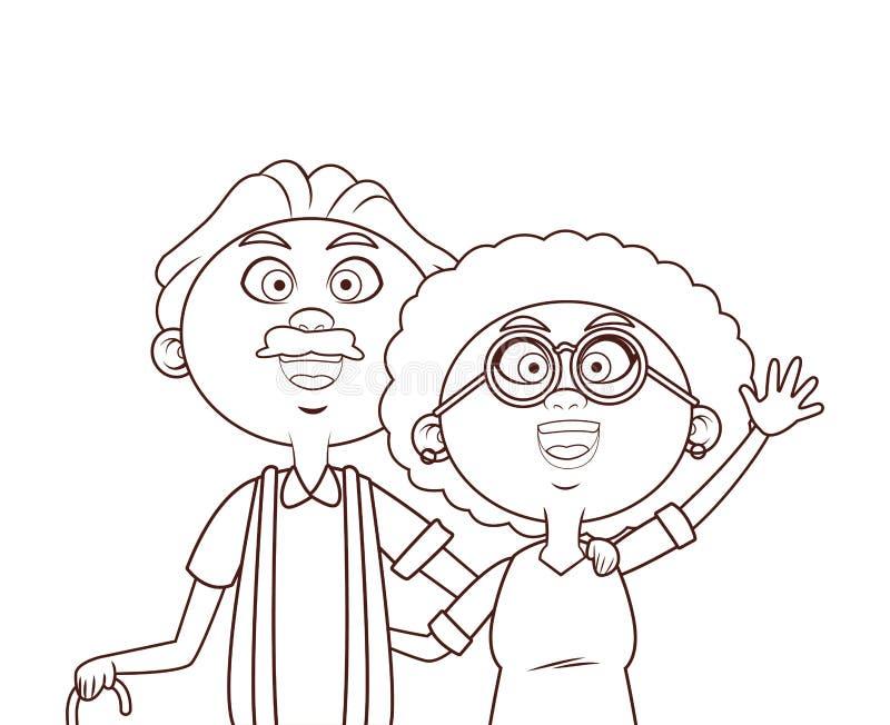 Canne de couples d'aîné illustration de vecteur
