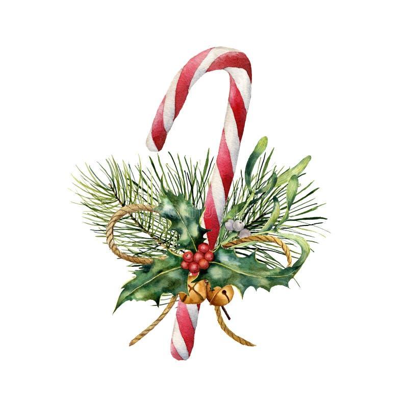Canne de Noël d'aquarelle avec le décor Sucrerie traditionnelle peinte à la main avec l'usine de Noël : houx, gui, cloches illustration libre de droits