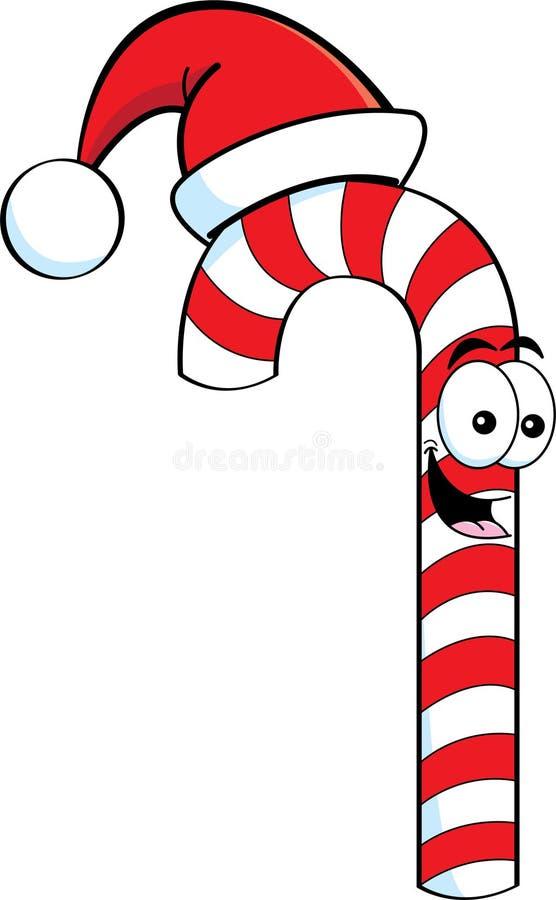 Canne de sucrerie de dessin animé utilisant un chapeau de Santa illustration stock